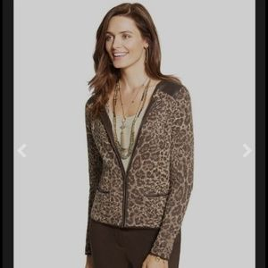 Chico's Shimmer Cheetah Zip up Cardigan 2